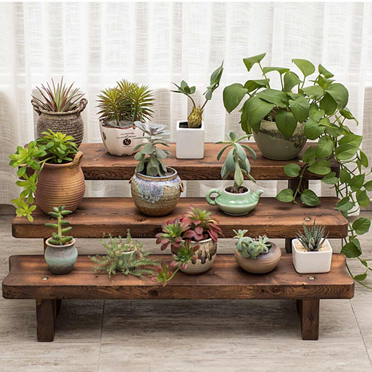 Carbonized Wood Damp-proof Antiseptic Flower Rack Multi-layer Plant Stand Shelves Garden Patio Balcony Planting Tools