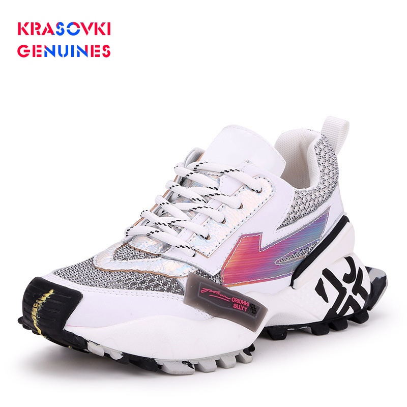 Hot Sale Krasovki Genuines Sneakers Women Autumn Round Toe Dropshipping Fashion Lace Mixed Colors Breathable Sewing Causal Women Shoes