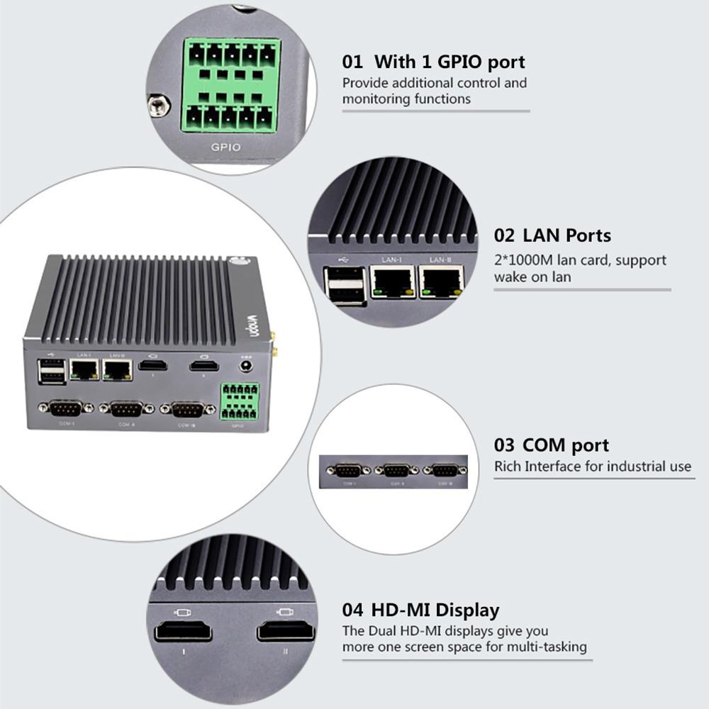 Image 2 - K6 3C fanless n2940 quad core industrial iot computador 1 * gpio 3 * rs232 com 2 * rj45 lan 2 * hdmi 6 * usb wifi 4 k mini pc windows linuxMini-PC   -