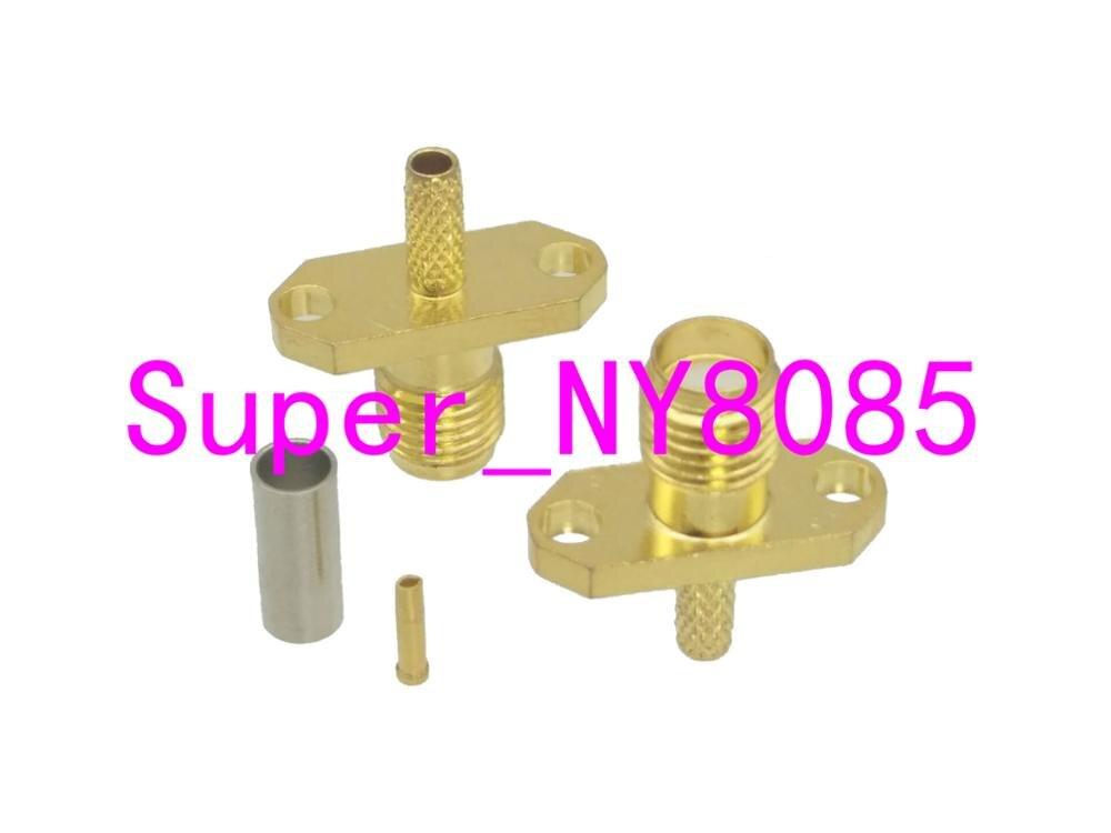 Connector SMA Female Jack 2-hole 16mm Flange Crimp RG174 RG316 LMR100 Cable
