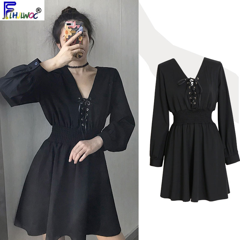 Autumn Fall French Design Little Black Dresses Women Fashion Long Sleeve Slim Waist A Line Bow Tie Mini Dress Party Cute 9011