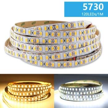 цена на DC 12V LED Strip Light 5M SMD 5730 Flexible 120Led/M Warm White LED Light Strip Lamp Tape Ribbon Not Waterproof Decoration Room