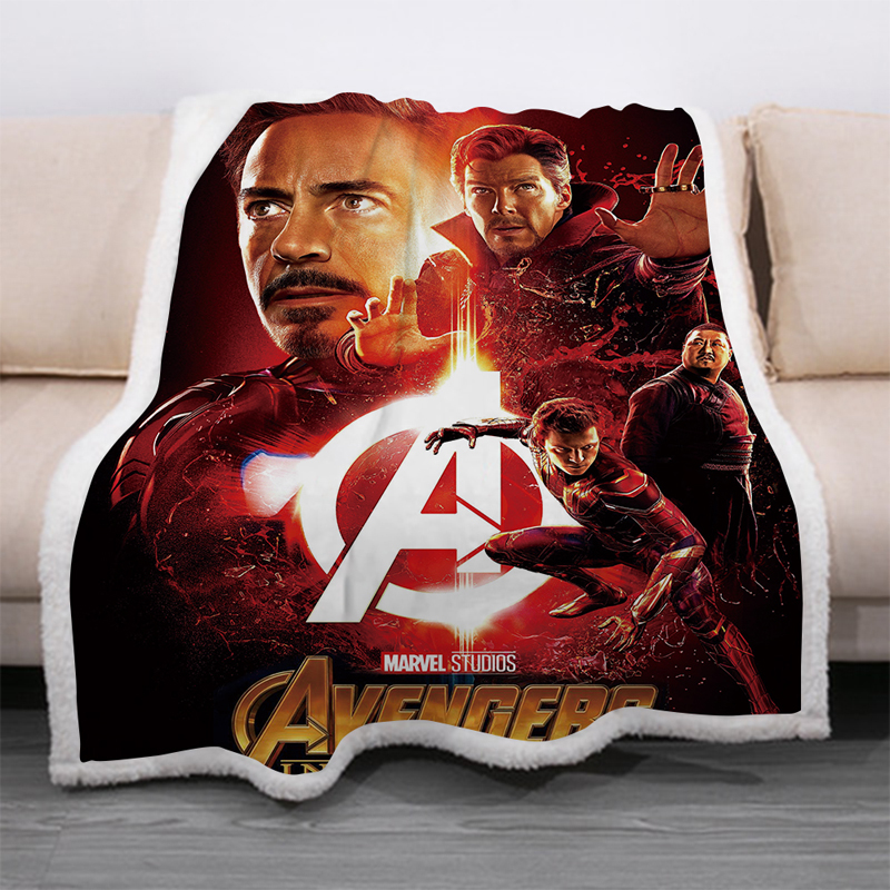 Superhero Avengers 3D Print Sherpa Blanket Sofa Couch Quilt Cover Travel Bedding Velvet Throw Thick Double-layer Fleece Blankets-2