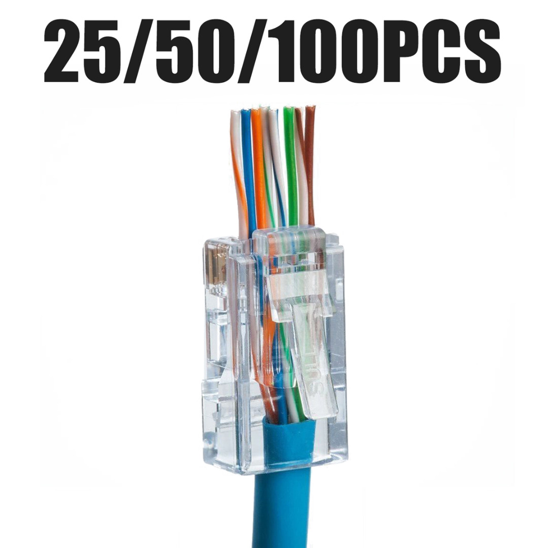 25/50/100pcs New EZ RJ45 8P8C Crimp End Plug Connectors Network Cable CAT5e CAT6 Network Cable Plug Adapter