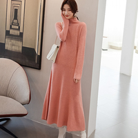 Plus long Women Dresses 100% Cashmere and Wool Knitting Jumpers 2019 New Soft Knitwear 4Colors Ladies Dress