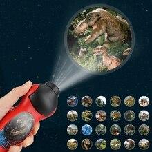 Projector-Lamp Flashlight 24-Patterns Dinosaur LED Rotary Early-Enlightenment Cartoon