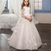 New Kids Pageant Evening Gowns 2019 Lace Ball Gown Flower Girl Dresses For Weddings First Communion Dresses For Girls flower girl dresses for weddings lace ball gown long sleeves kids evening gown first communion dresses for girls pageant dress