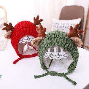 Cute Cartoon Elk Baby Hat Winter Christmas Knitted Kids Hat Warm Infant Baby Boy Girls Cap Ear Protection Children Beanie Bonnet