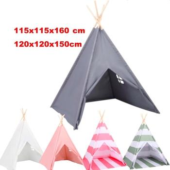 Teepee duży namiot zabaw dla dzieci do ogrodu lub wewnątrz drewna i płótna-120x120x150cm tanie i dobre opinie CN (pochodzenie) Domki