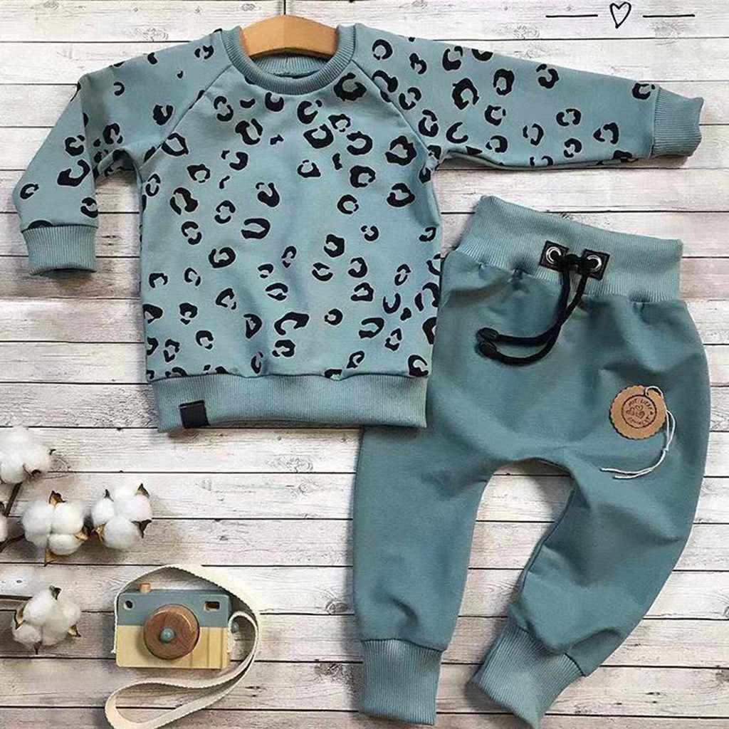 Infant Baby Girls Boys Leopard Clothes Long Sleeve Print T-shirt Sweater Coat Tops Pants Outfits Clothing For Girls Sets Autumn
