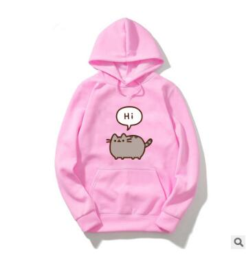 Autumn Ladies Pink Hoodie Sweatshirts Cute Pusheen Casual  Long Sleeve Sweat Capuche Hoody  Pullover Hoodie Leisure Loose Tops