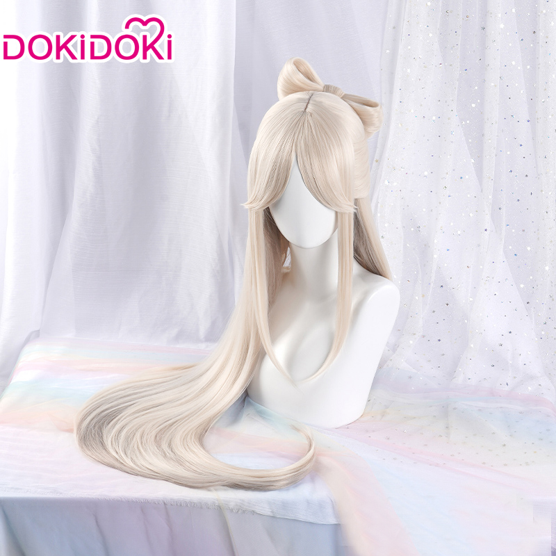 DokiDoki игра Genshin воздействия Косплэй Хэллоуин Ningguang Косплэй парик Genshin воздействия Ning guang Косплэй волос