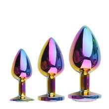 Arc-en-ciel Rose Or Petit Taille Moyenne Mis en Forme De Coeur En Métal Cristal Perles Anales Godemichet Anal Bijoux Cul Sex toy pour Femme Homme