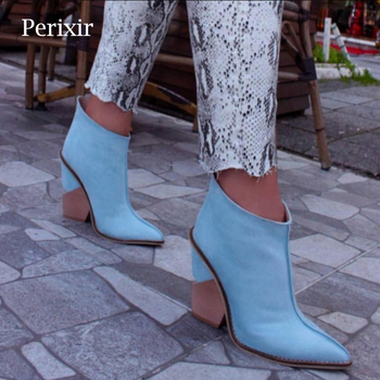 Perixir Ankle Boots Women Thick High Heels Pointed Toe Western Cowboy Boots Female Black Blue Leather Shoes for Lady 2020 Autumn 2018 autumn winter women shoes ankle boots genuine leather pointed toe high heels embroidery black runways shoes tenis feminino