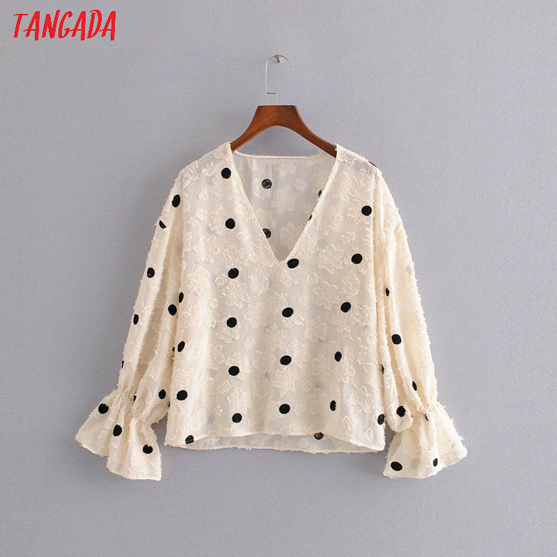 Tangada Women Vintage Oversized Dots Embroidery Blouse V Neck Flare Long Sleeve Female Casual Shirts Tops Blusas 3H143