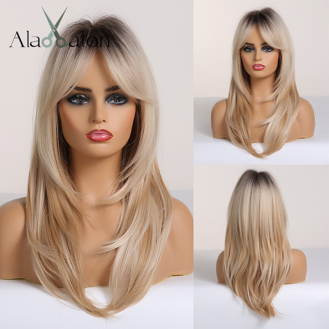 ALAN EATON Long Straight Wigs Ombre Black Blonde Ash Wigs with Bangs Heat Resistant Synthetic Wigs for African American Women
