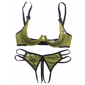 New Women Intimates 2020 Underwear Open Bra Set Appliques Bow Sexy Lingerie Set Lace Transparent Bra and Panty Set