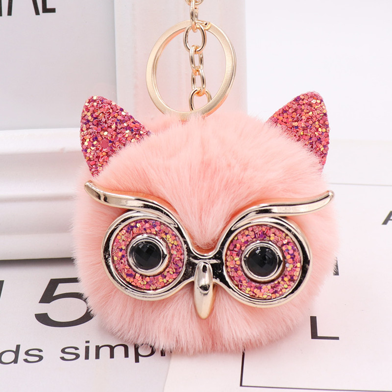 New Kawaii Sequin Ear Fur Owl Keychains For Girls Boy Fluffy Fake Animal Ball Key Chain Charm Women Bag Key Ring Teacher Gift