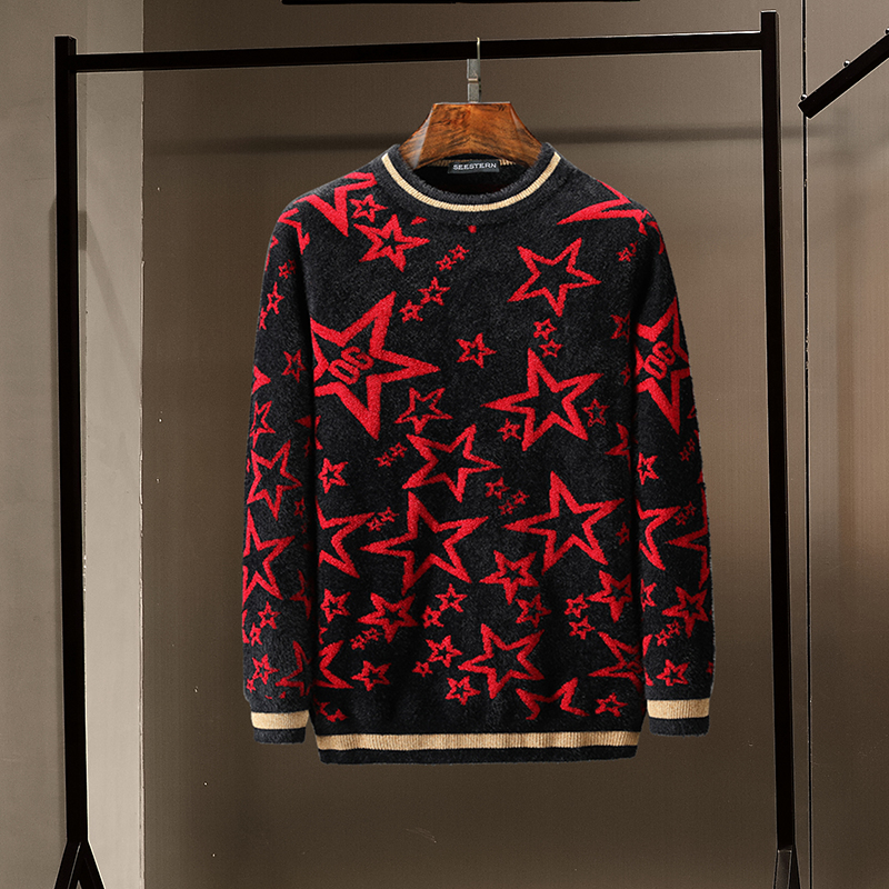 Seestern Brand Autumn Winter Men's Sweater New Stripe Pentagonal Star Og Letter Imitation Mink Wool Knitting Warm Long Sleeve