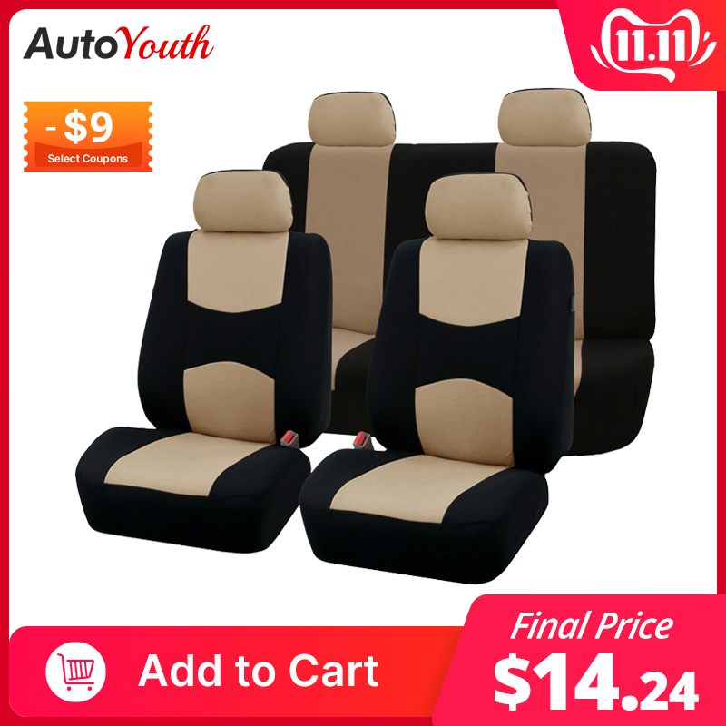 AUTOYOUTH Car Seat Covers Full Set Universal Fit Car Accessories Auto Seat Protectors Car-Styling Gray/Black