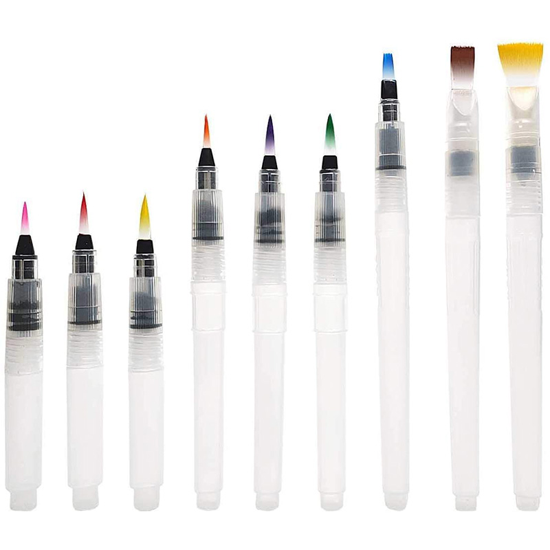 Watercolor Brush Pens Set,Watercolor Pens Brush For Water Soluble Colored Pencil, Brush Pen For Beginners(9 Piece)
