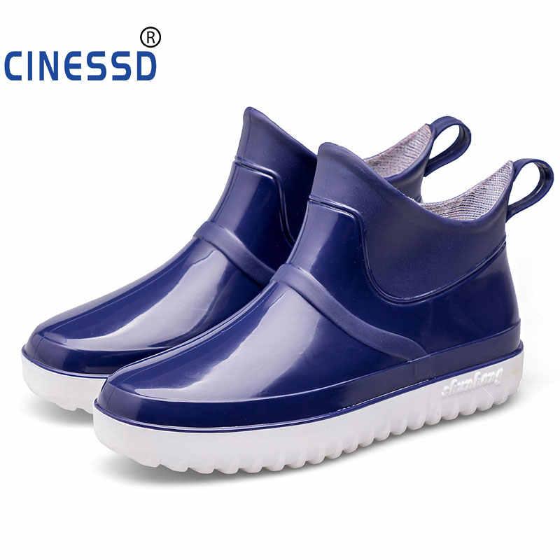 ขาย Gumboots ยาง Asker Rainboots ผู้ชายฤดูหนาวรองเท้าผู้ชายฤดูหนาวตกปลารองเท้า Antiskid รองเท้า Rain BOOTS รองเท้าเชลซี