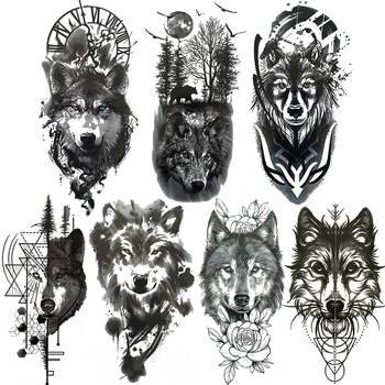 Ferocious Wolf Temporary Tattoos For Men Realistic Coyote Geometric Tatoo Mountain Dreamcatcher Forest Fake Tattoo Waterproof Buy At The Price Of 0 81 In Aliexpress Com Imall Com