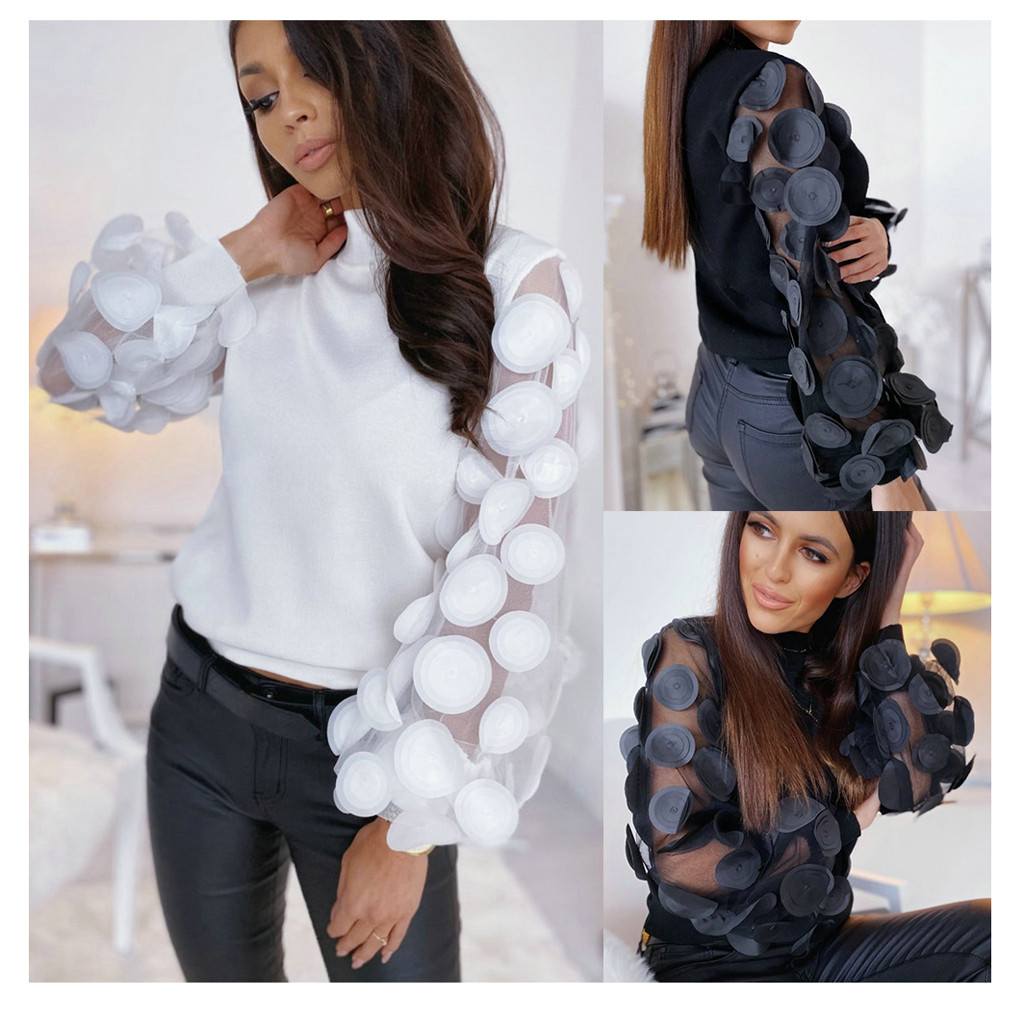 Organza Stitching Sleeve Pullover