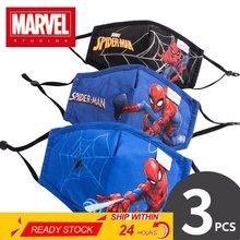 Mascarilla lavable de algodón para niños de 3 a 12 años, Máscara protectora antipolvo de Disney, Marvel, Spiderman, Elsa, Sofía