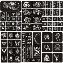 114pcs/set Henna Tattoo Stencil Tiger Wolf Dragon Arabic Letters Airbrush Stencils for Painting Glitter Pochoirs Pour Peinture
