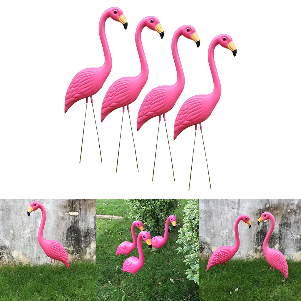 4PCS Lawn Ornament Pink Flamingo Ture to Nature Plastic Garden Animals Home Party Wedding Decor