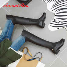 ANMAIRON Winter Square Heel Thigh High Boots Round Toe Zip Rainboots Over-the-Knee PU Solid Plush Women Shoe Rivet Fashion Brown