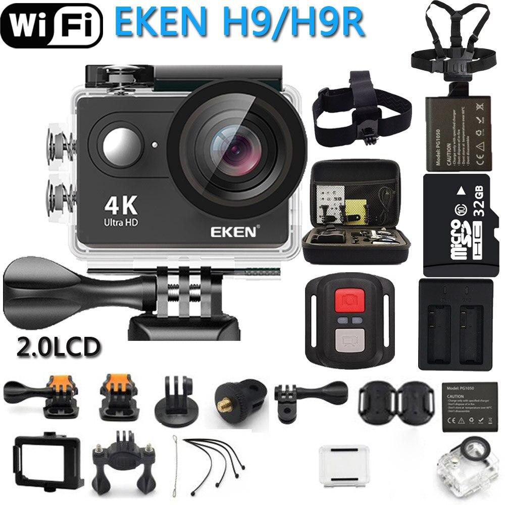 ต้นฉบับกล้องถ่ายภาพ EKEN H9R/H9 Ultra HD 4K WiFi กีฬากล้องวิดีโอ Go Pro กล้อง 170 องศา 1080P @ 60FPS CAM