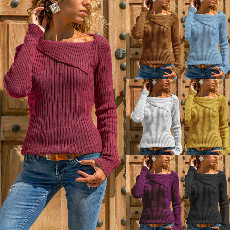 Dress Base Shirt Sweater Knitwear Tops Autumn And Winter Women Knit Long Sleeve Loose Square Collar 1