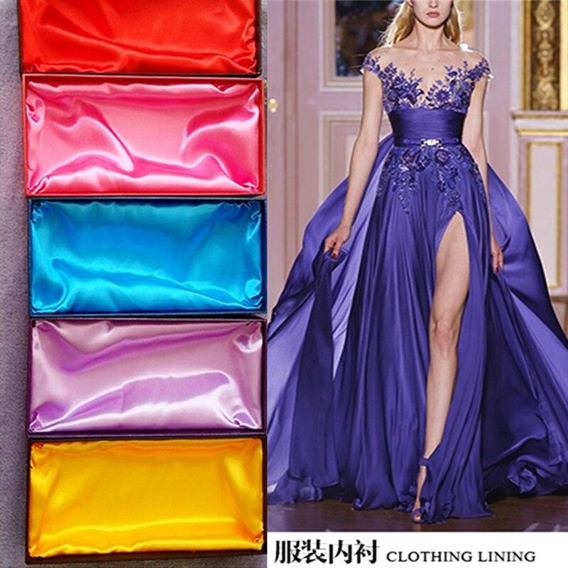 Satin polyester stoff high-end-satin kleid simulation silk tuch geschenk box satin satin einfarbig Diy nähen tuch großhandel