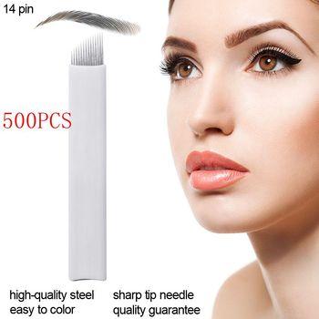 500 Pcs Micro blading Needles 14 Pins Permanent Makeup Eyebrow Tatoo Blade Microblading Needles For Embroidery Tattoo Pen