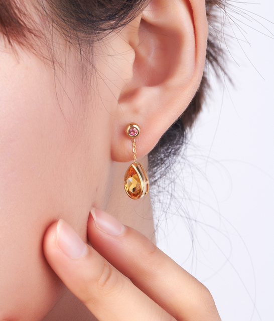 LSZB Natural citrine 18K Pure Gold Earring Real AU 750 Solid Gold Earrings  Diamond  Trendy  Fine Jewelry Hot Sell New 2020 3