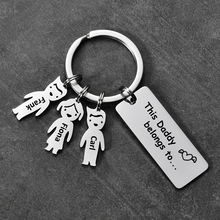 Customized Stainless steel  Key Rings laser Engrave Kids Names Pendant Charms  Drive safely bar Key chain Family Gifts SL-176