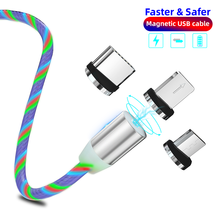 LED Flow Luminous Multicolor Magnetic USB Cable For iPhone XS Micro Type C Fast Charging Bright Magnet Charge Xiaomi MI9