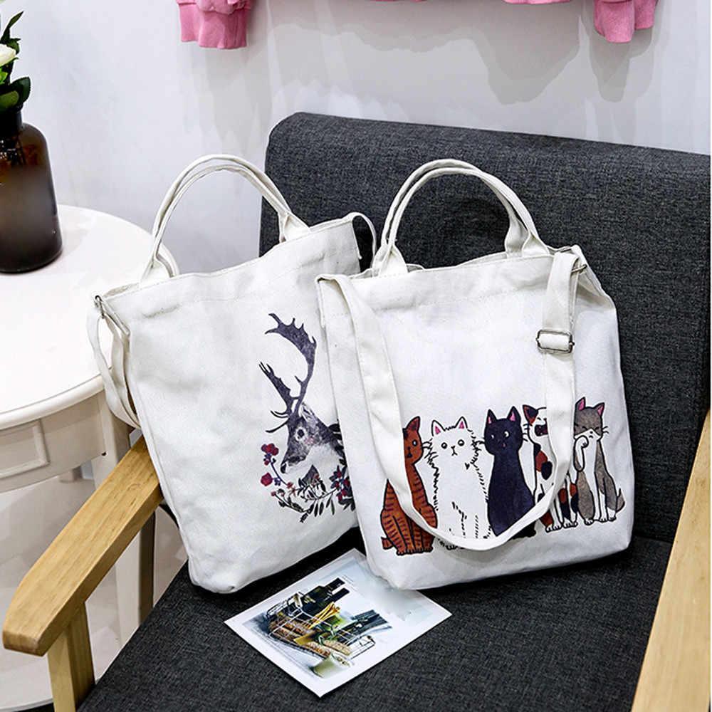Femmes de luxe sac à main toile dessin animé chats impression épaule plage sacs décontracté femme fourre-tout sac à provisions femme décontracté