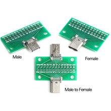 Adaptateur de carte PCB de Test USB 3.1 mâle à femelle, prise de connecteur de Type C 24P 2.54mm pour le transfert de câbles de données