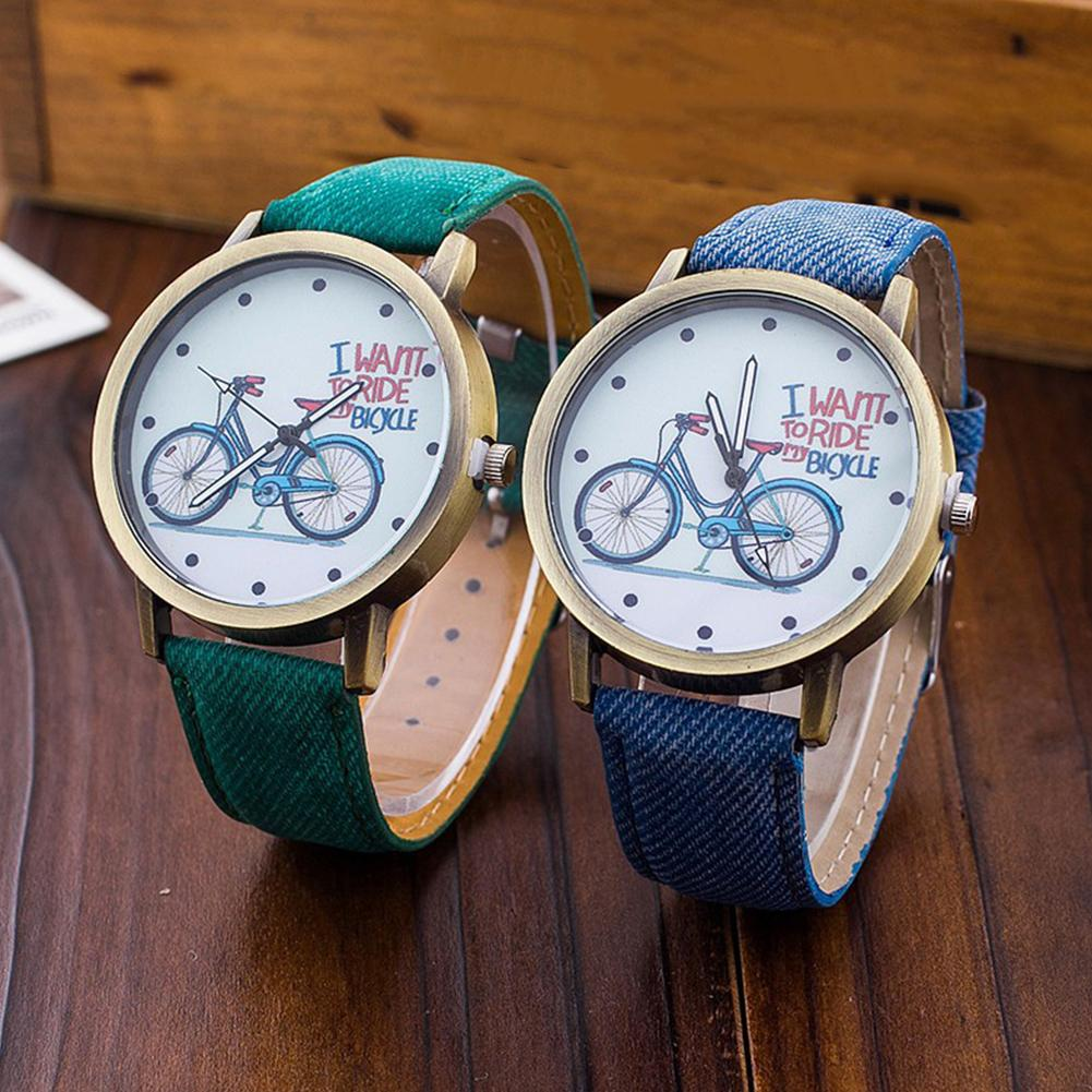 Fashion Couple Watches Unisex Retro Bicycle Canvas Band No Number Round Dial Analog Quartz Wrist Watch Lovers' Watches