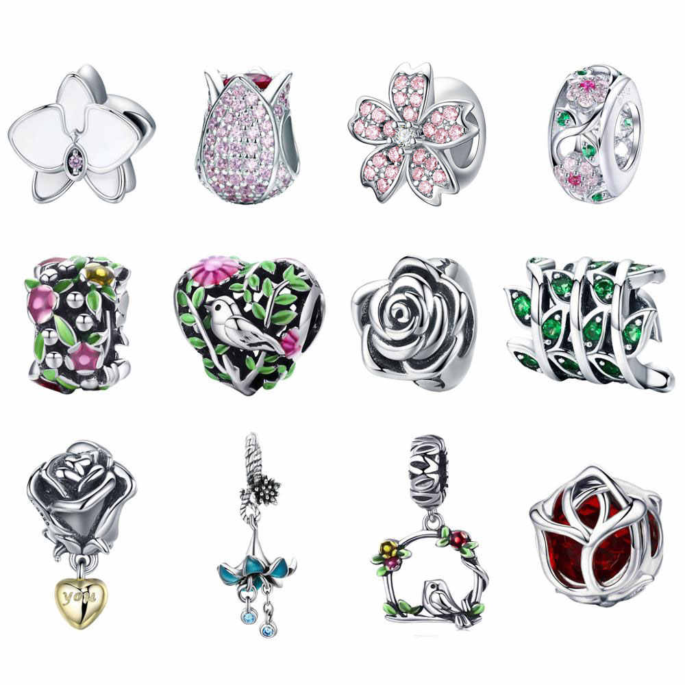 BISAER Authentic 925 Sterling Silver Magnolia Orchid Cherry Cerise Rose Flower Beads Charms Fit Bracelets & Bangles Fine Jewelry