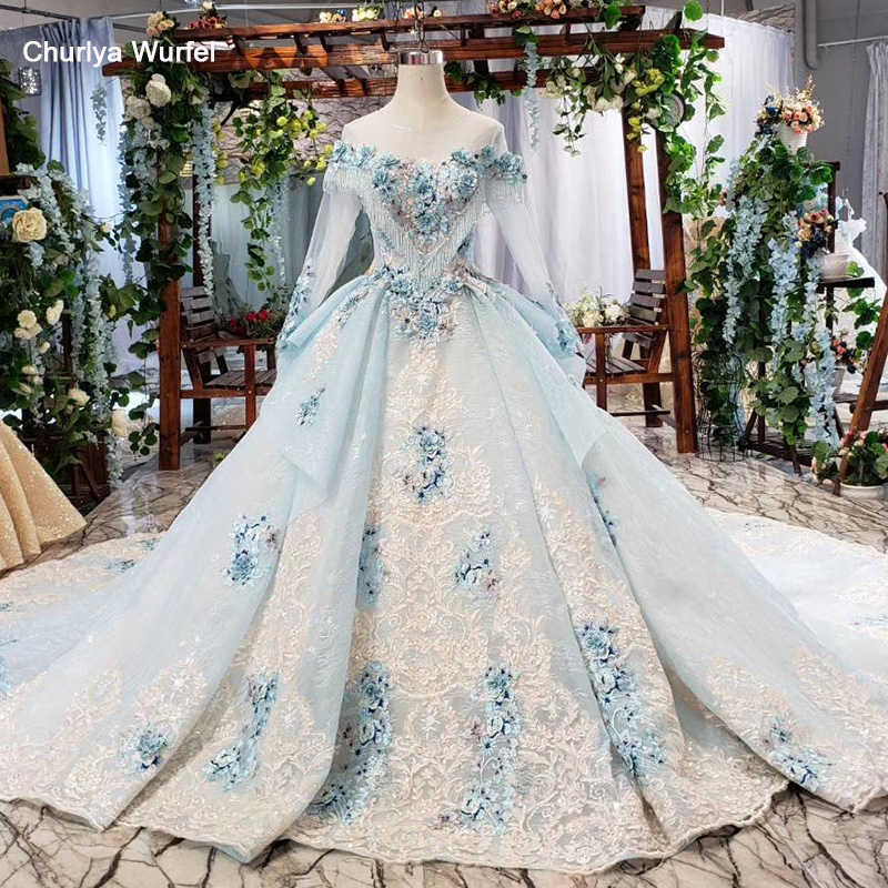 HTL750 elegant evening dress with blue appliques flowers o-neck lace up back long formal dress women robe soiree manche longue