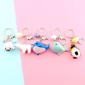Милый аниме-брелок для ключей, брелок для ключей с изображением медведя, Дельфина, Сумка с Китом, брелок для ключей для девочек, креативный п...