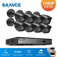 Sannce 8ch 1080p lite sistema de segurança vídeo 5in1 1080n h.264 + dvr com 4x 8x 1080p ao ar livre à prova dwaterproof água ir câmeras kit cctv conjunto