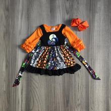 Детская одежда для девочек осенняя одежда для девочек из 2 предметов платье на Хэллоуин с длинными рукавами, футболка, платье с тыквами