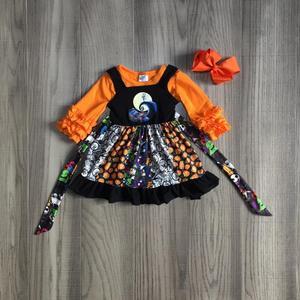 Image 1 - children girls clothes girls fall 2 piece outfits HALLOWEEN twirl dress with girls long sleeve tee pumpkin dress