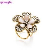 Qiongfu Vintage Opal Flower Brooch Crystal  Silk Scarf Buckle Camellia