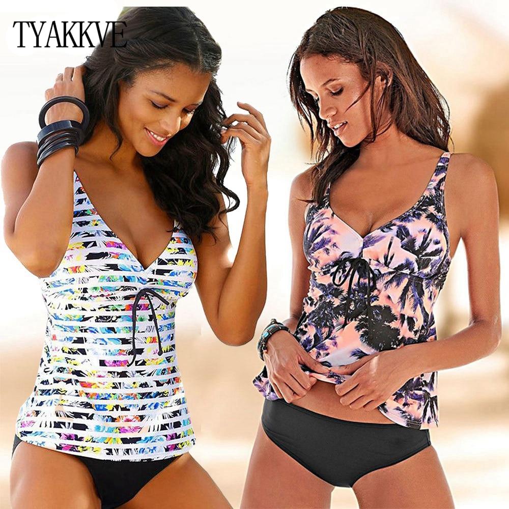 2019 Swimwear Women Tankini Set Plus Size Two Piece Vintage Floral Swimsuit Push Up High Waist Sport Bathing Suit Beach Wear 5XL